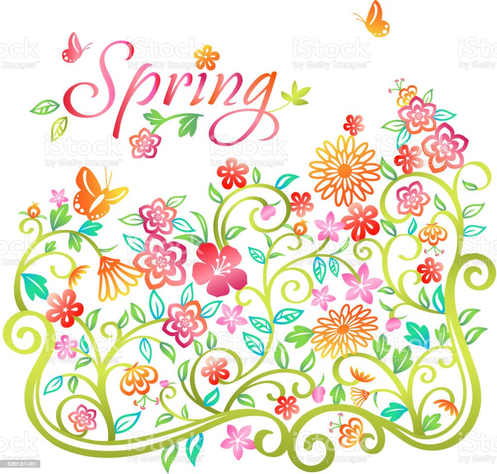 Whimsical Spring Flowers Blooming Into Spring Stock Vector ...