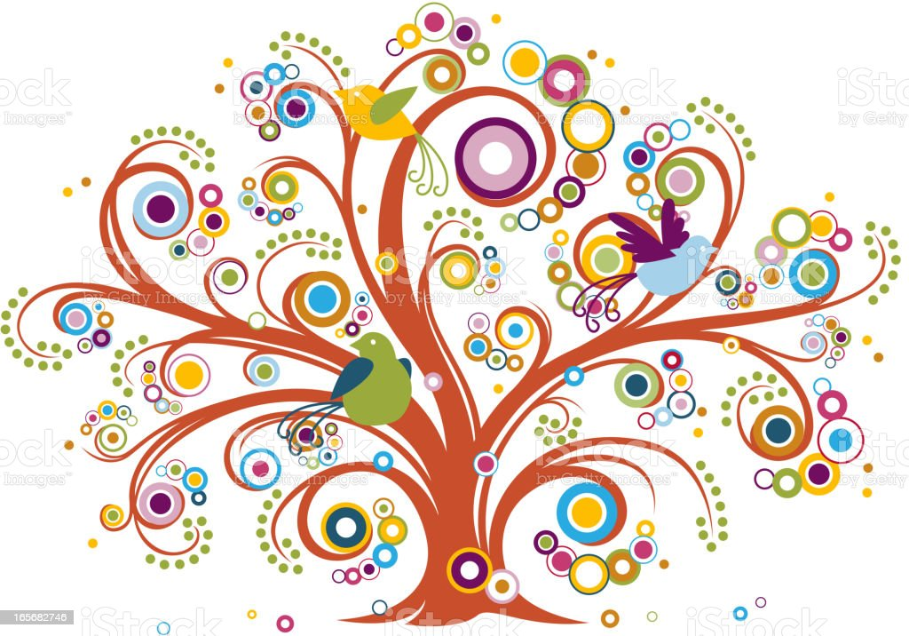 Whimsical Tree with Birds vector art illustration