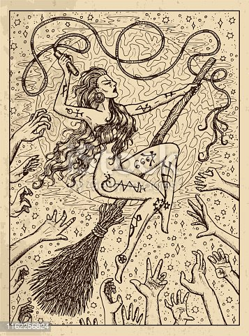 Whip. Mystic concept for Lenormand oracle tarot card. Vector engraved illustration. Fantasy line art drawing and tattoo sketch. Gothic, occult and esoteric background