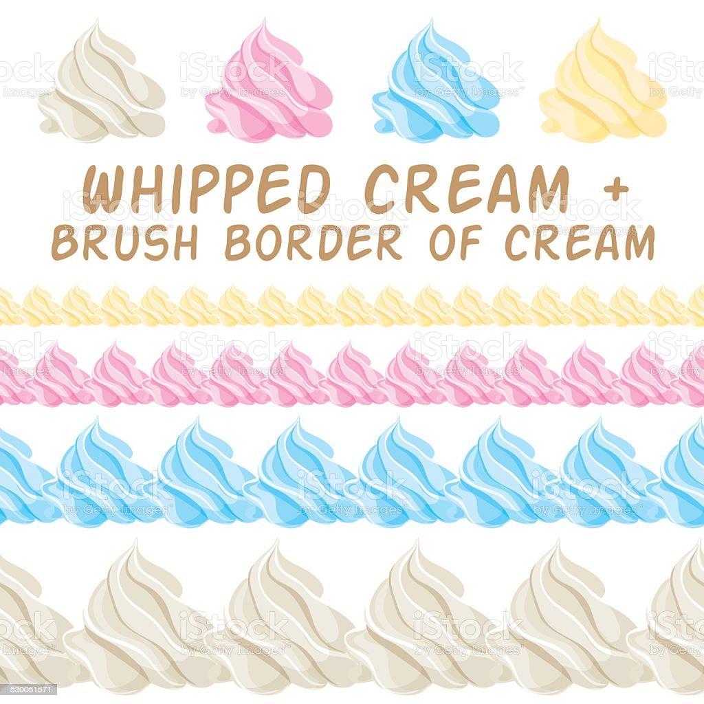 ホイップクリームとボーダーカラフルなブラシますベクトル設定されます