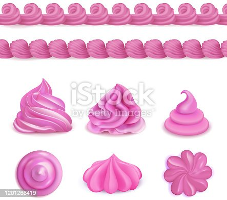 Whipped pink cream dessert decorations top side views realistic set with seamless border and swirls vector illustration