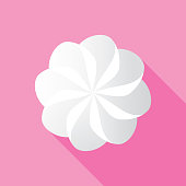 Vector illustration of whipped cream against a pink background in flat style.