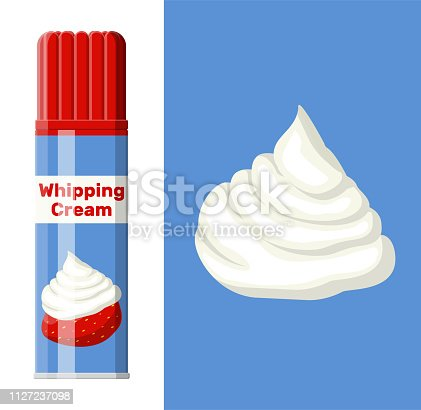 Whipped cream in aerosol can isolated on white. Dairy milk product. Organic healthy product. Vector illustration in flat style