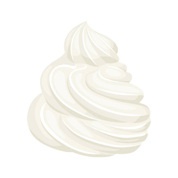 Whipped cream isolated on white background. Vector illustration of dessert in cartoon flat style. Food icon. Whipped cream isolated on white background. Vector illustration of dessert in cartoon flat style. Food icon. pudding stock illustrations