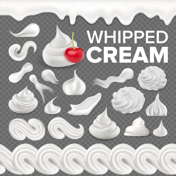 Whipped Cream Set Vector. White Creamy Swirl. Vanilla Milk Dessert. Soft Decoration Icon. Frothy Sweet Candy. Topping Product. Tasty Classic Twirl. 3D Realistic Isolated Illustration vector art illustration