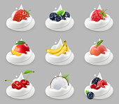 Whipped cream with fruits and berries, vector icon set