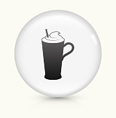 Whipped Drink Icon on simple white round button. This 100% royalty free vector button is circular in shape and the icon is the primary subject of the composition. There is a slight reflection visible at the bottom.