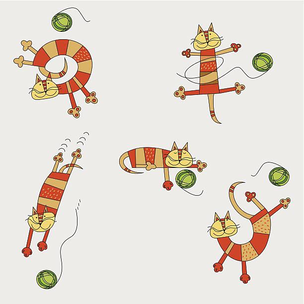 ilustraciones, imágenes clip art, dibujos animados e iconos de stock de de bebé balanceándose cat - tintanegra00