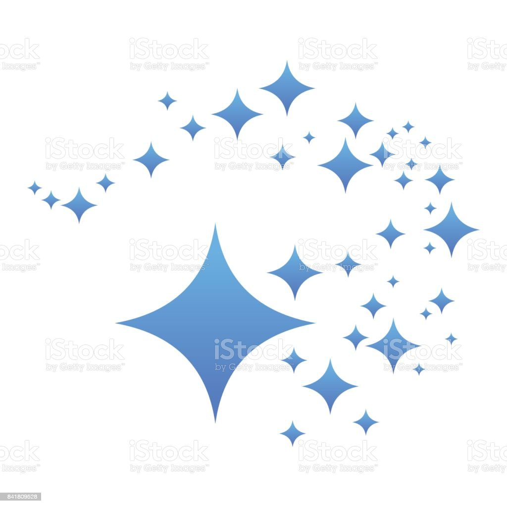 whirlwind of blue stars vector art illustration