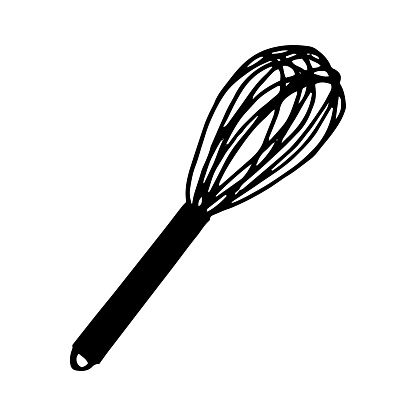 whisk icon, sticker. sketch hand drawn doodle style. vector, minimalism, monochrome. kitchen, dishes, cooking, food.