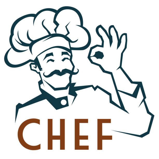 Whiskered Chef Clip Art Vector Illustration of a clip art with a whiskered smiling Chef cooking clipart stock illustrations