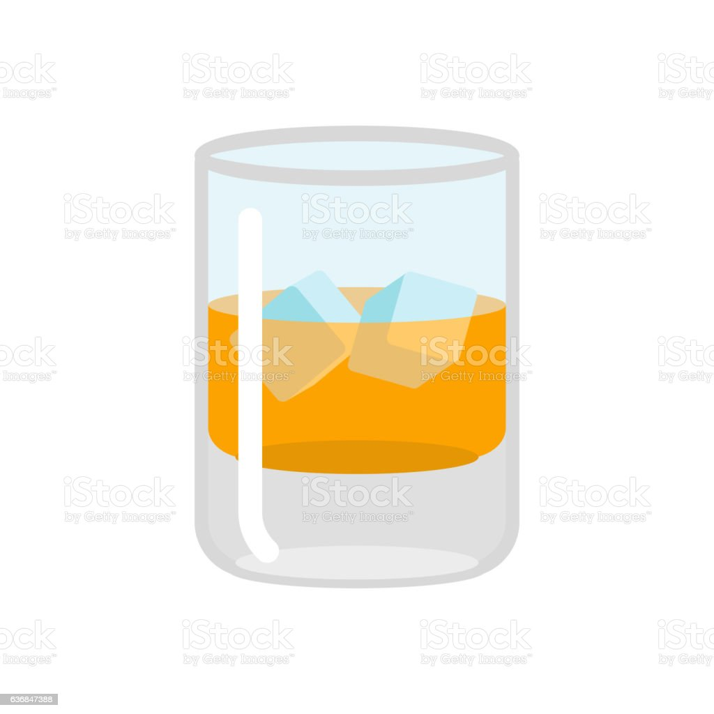 whiskey and ice glass of scotch on rocks drink on のイラスト素材
