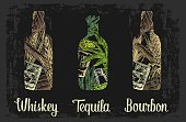 Whiskey and tequila bottle with glass, ice cubes, barrel, cigar, cactus, salt and lime. Color hand drawn sketch on vintage black background. Vector engraved illustration