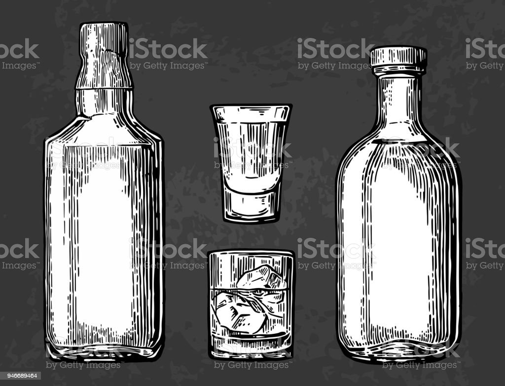 Whiskey and tequila glass, bottle. Vector color engraving vector art illustration