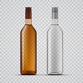 Vector illustration of transparent alcohol bottles on plain backgrounds
