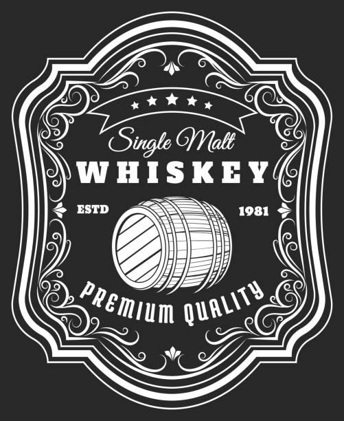whiskey barrel label - whisky stock illustrations