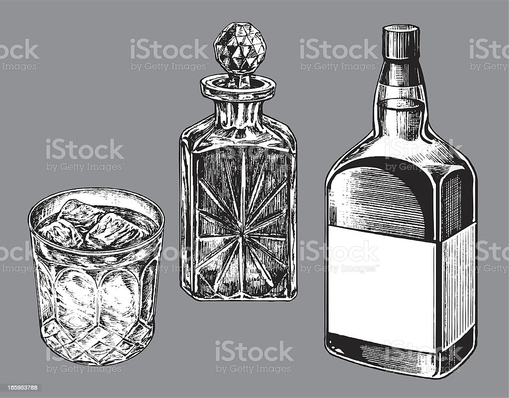 Whiskey Bottle, Caraf and Tumbler Glass vector art illustration