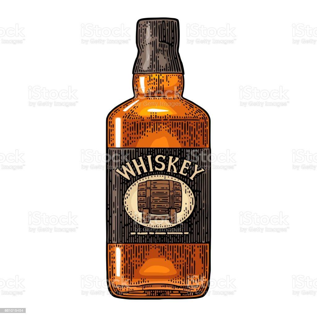 Whiskey bottle label with barrel. vector art illustration
