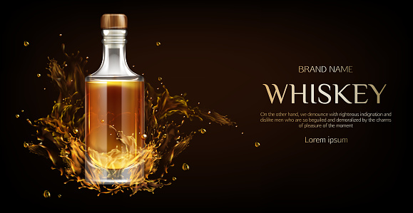 Whiskey bottle mockup, flask with strong drink