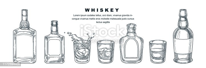 Whiskey bottles and glass with beverage and ice, vector sketch illustration. Scotch, brandy or liquor alcohol drinks. Bar menu design elements, isolated on white background.