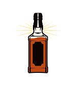 istock Whiskey, bourbon, rum, brandy, cognac, liquor, or other strong drink in a bottle - vector icon 1223533537