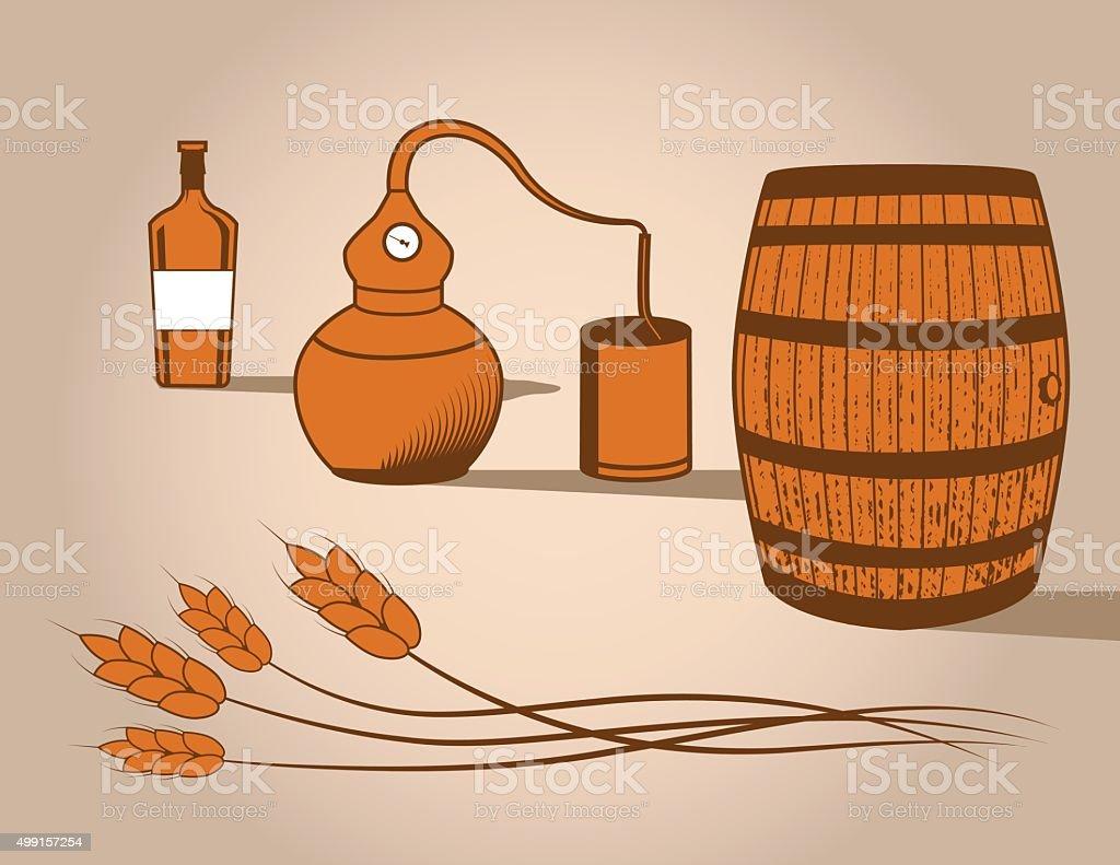 Whisky Distilling elementos vectoriales - ilustración de arte vectorial