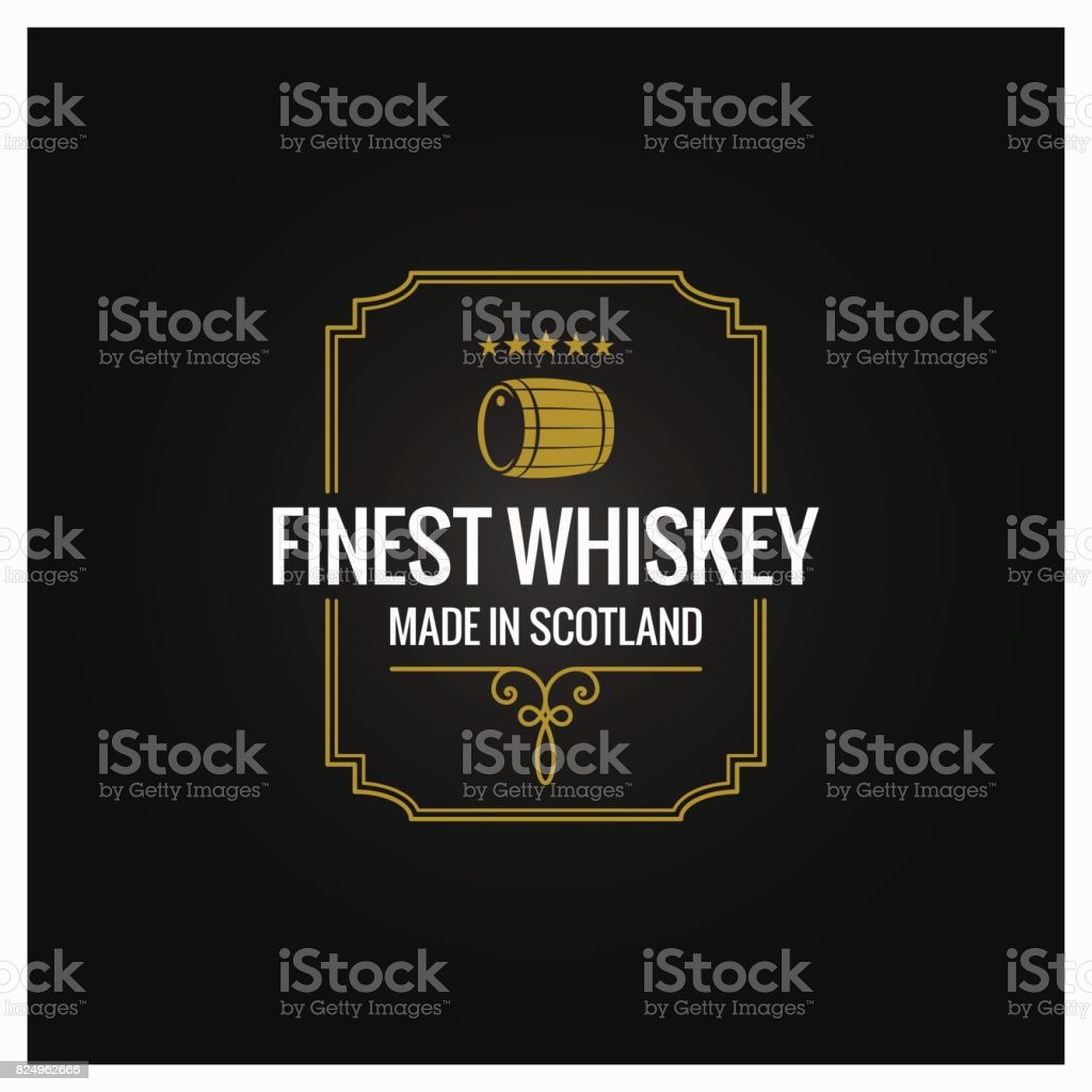 whiskey emblem dark label design background vector art illustration