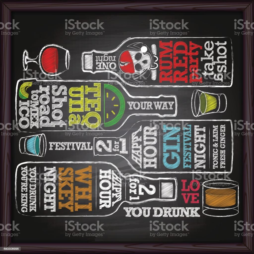 Whiskey, gin, tequila, rum alcohol bottle drawing on chalkboard vector art illustration