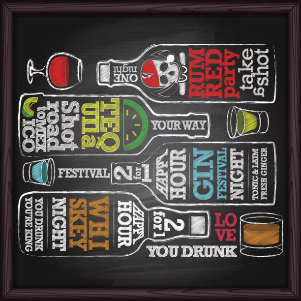 whiskey, gin, tequila, rum alcohol bottle drawing on chalkboard - happy hour stock illustrations, clip art, cartoons, & icons