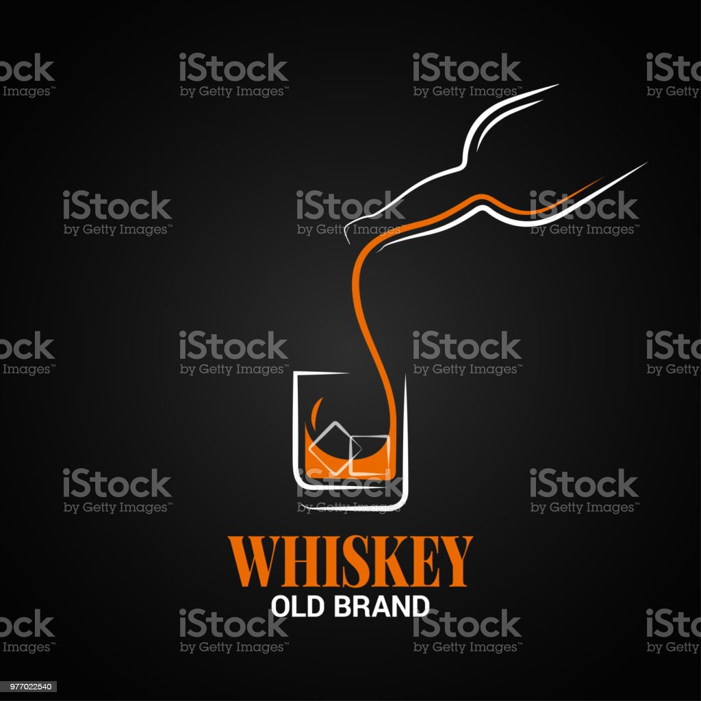 whiskey glass and bottle logo on black background vector art illustration
