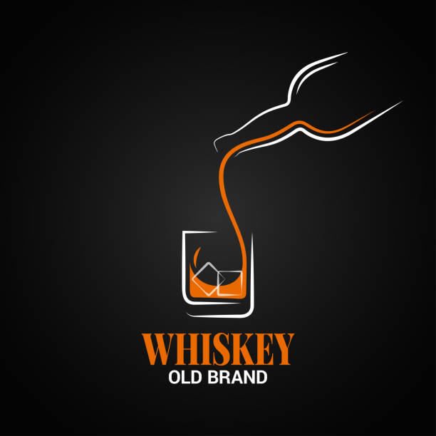 whiskey glass and bottle logo on black background vector art illustration