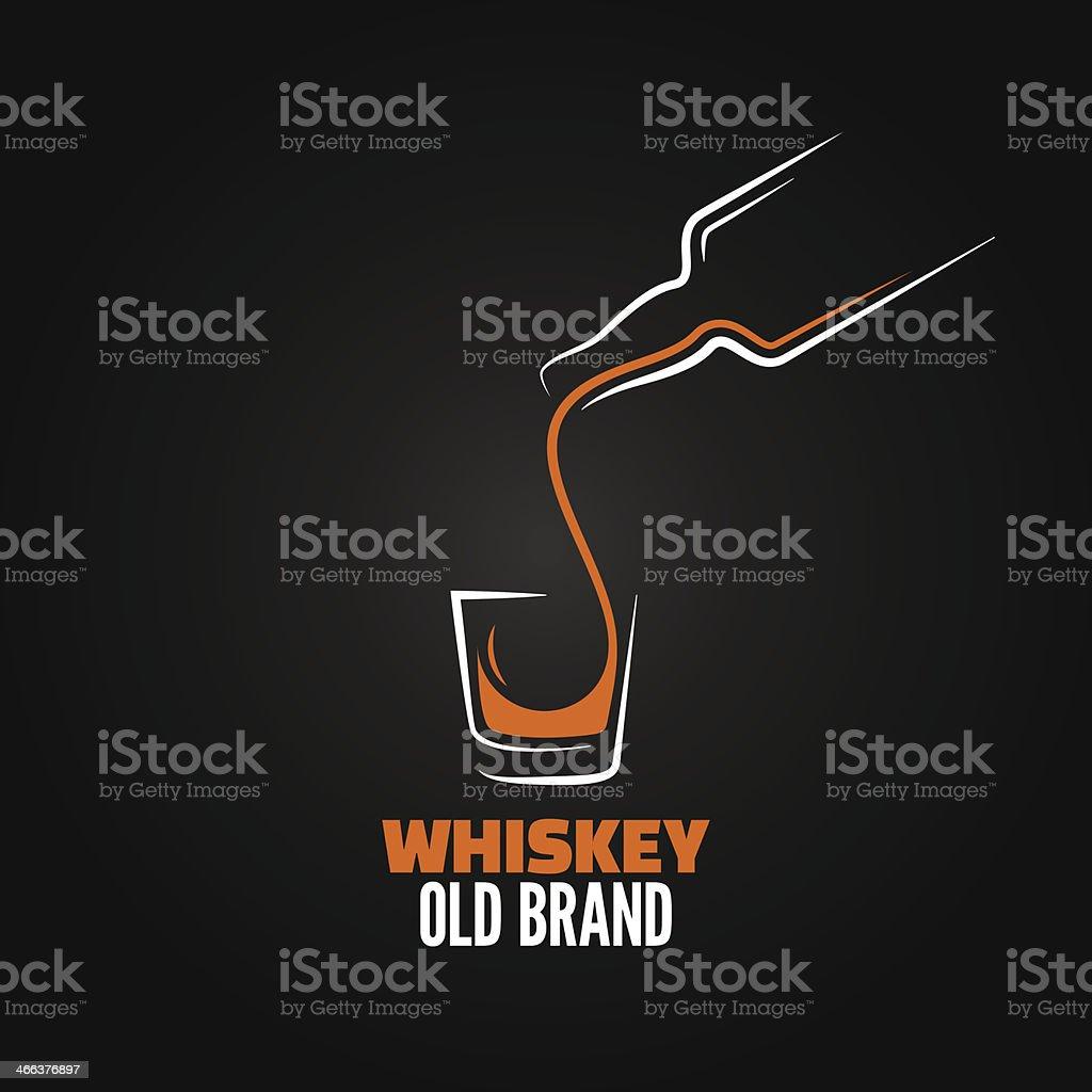 whiskey glass bottle shot splash menu background vector art illustration