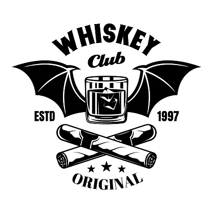 Whiskey glass with bat wings and crossed cigars vector emblem, badge, label or logo in vintage monochrome style isolated on white background