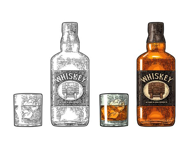 Whiskey glass with ice cubes and bottle label with barrel vector art illustration