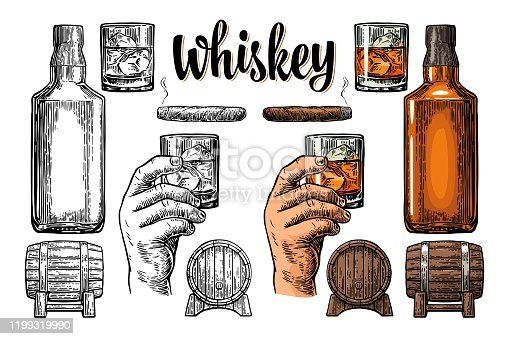 Whiskey glass with ice cubes, barrel, bottle and cigar. Vector vintage engraving color illustration for label, poster, invitation to a party. Isolated on white background. Hand drawn design element.