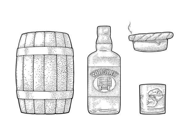 Whiskey glass with ice cubes, barrel, bottle and cigar. vector art illustration