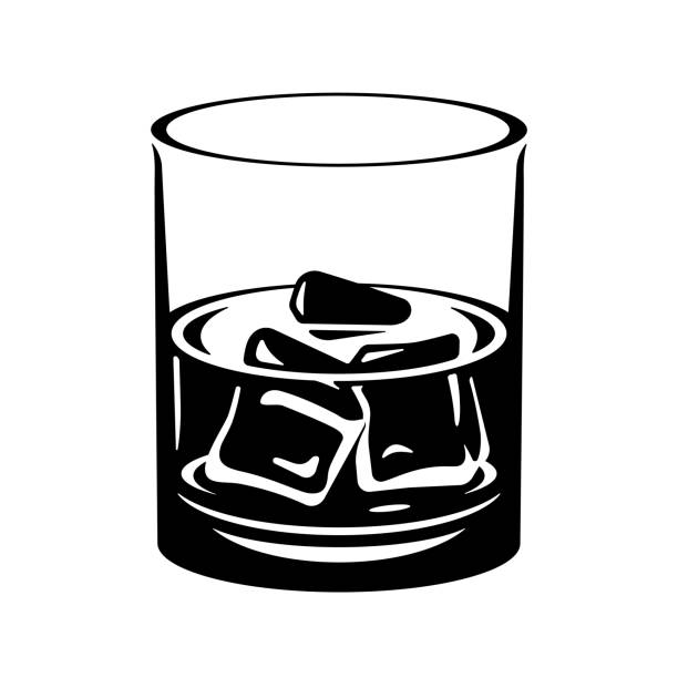 Whiskey glass with ice cubes. Illustration vector art illustration