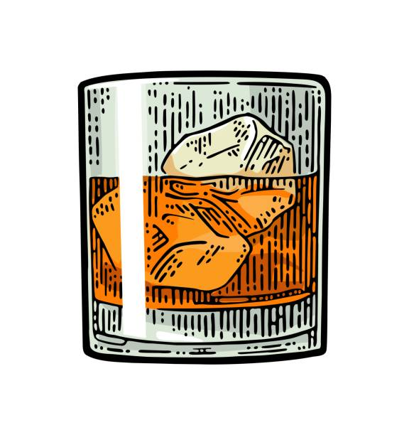 Whiskey glass with ice cubes. Vector vintage color engraving vector art illustration