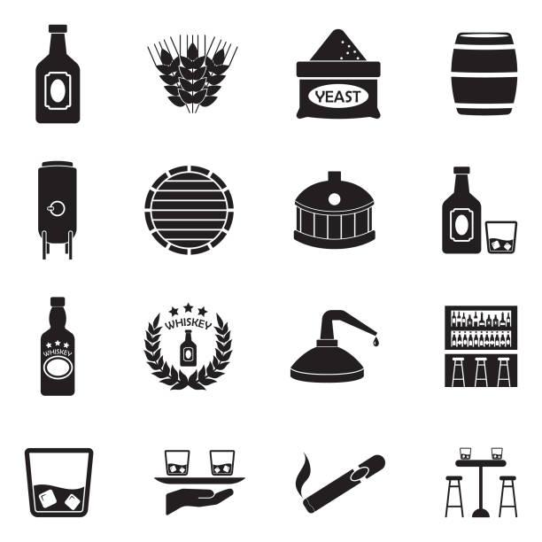 illustrazioni stock, clip art, cartoni animati e icone di tendenza di whiskey icons. black flat design. vector illustration. - cask