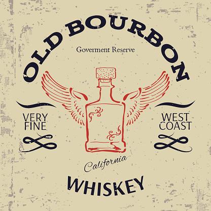 Whiskey Label Design. T-shirt Print. Vector