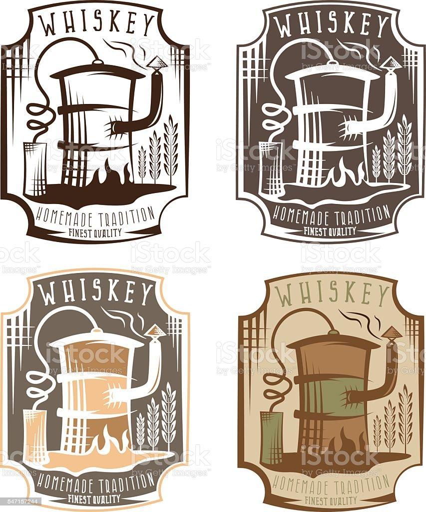 whiskey labels set with home alcohol machine in oil barrel - ilustración de arte vectorial