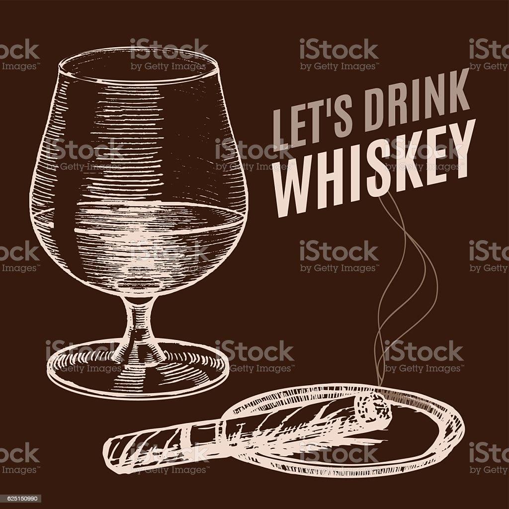 Whiskey Poster Hand Draw Sketch. Vector vector art illustration