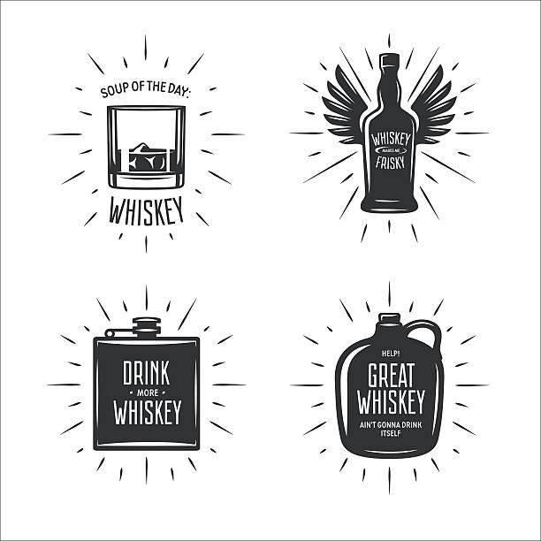 whisky z typografia wektor zestaw. vintage ilustracji. - whisky stock illustrations