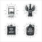 Whiskey related typography vector set. Vintage illustration.