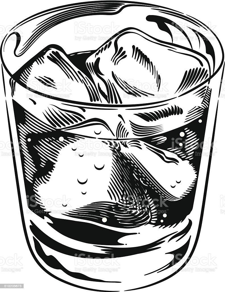 Whiskey Rocks Glass vector art illustration