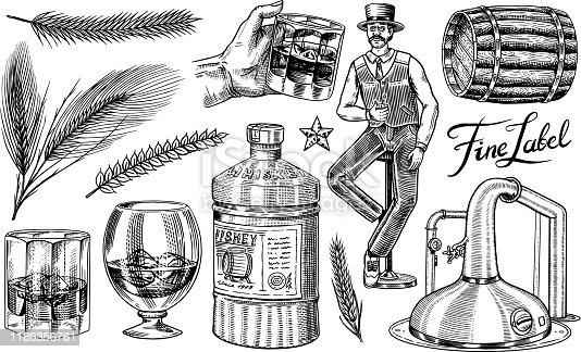Whiskey set. Glass bottle, wooden barrel, scotch and bourbon, wheat and rye, Victorian man, cheers toast. Vintage American symbols. Strong Alcohol drink. Hand drawn engraved sketch for poster, badge.
