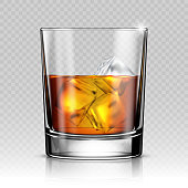 Whiskey splash out of glass isolated on transparent background