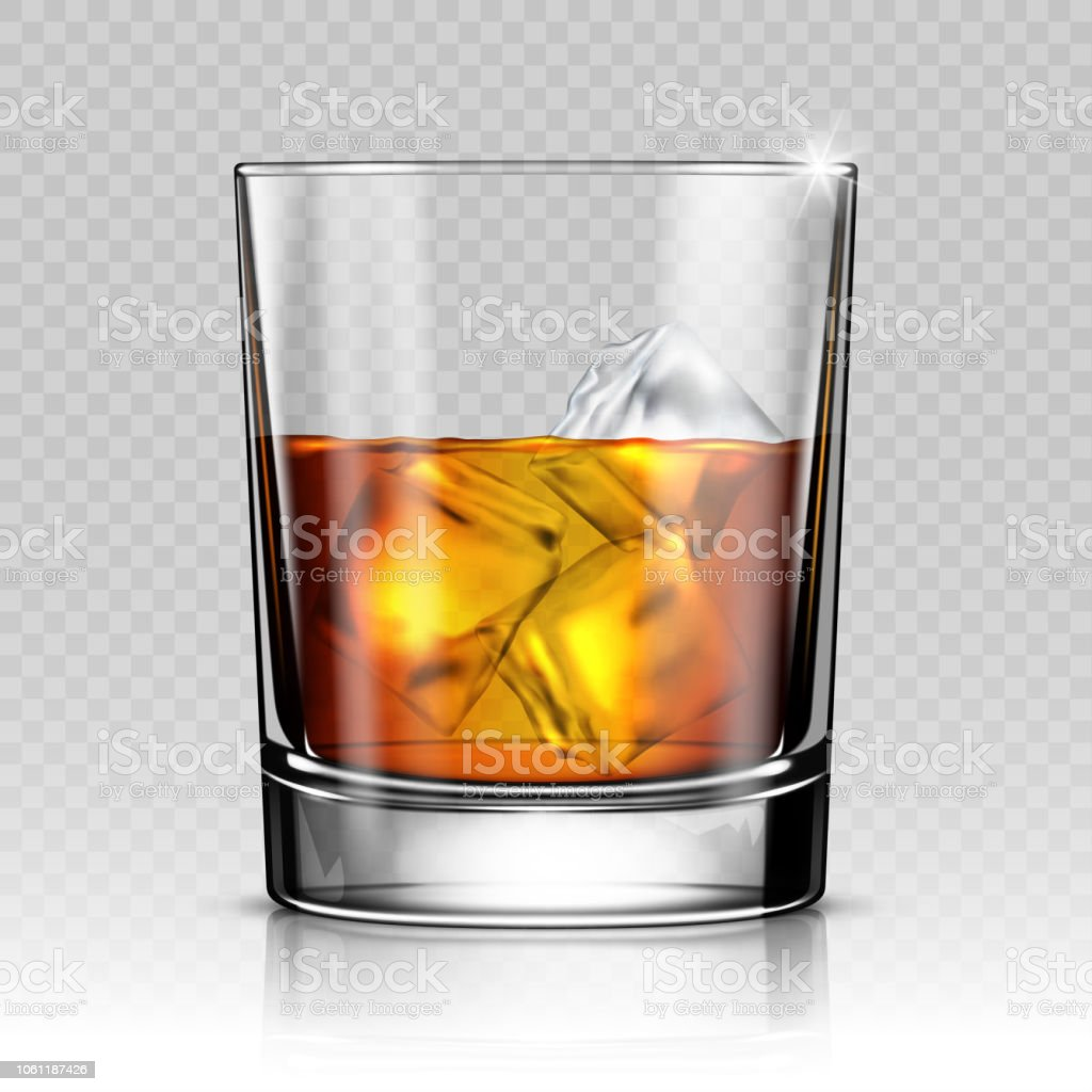 Whiskey splash out of glass isolated on transparent background vector art illustration