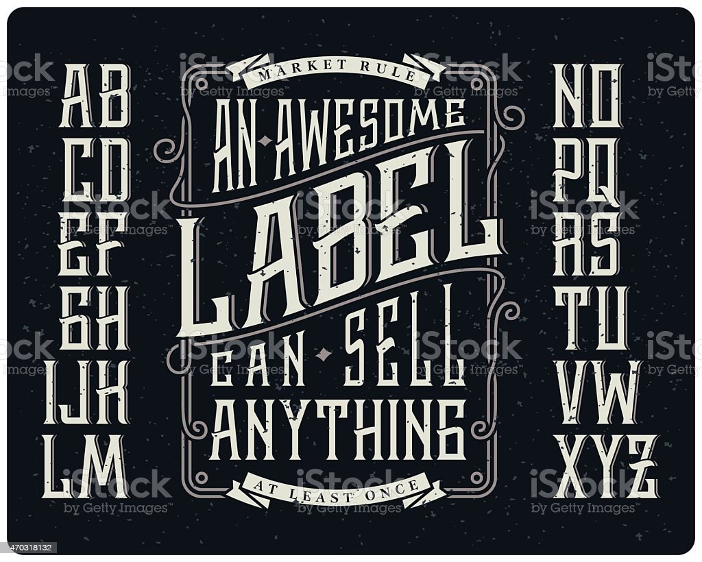 Whiskey style typeface set vector art illustration