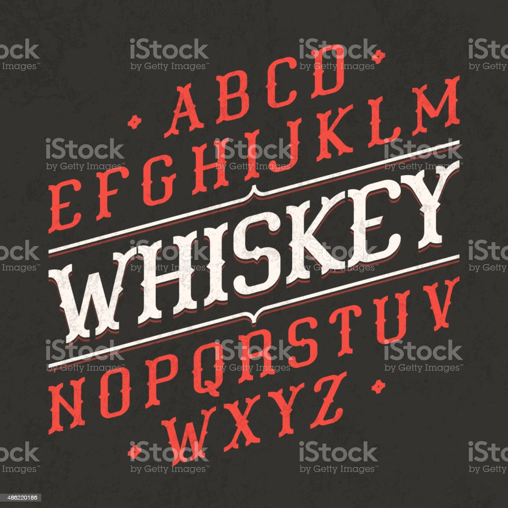Whiskey style vintage font vector art illustration